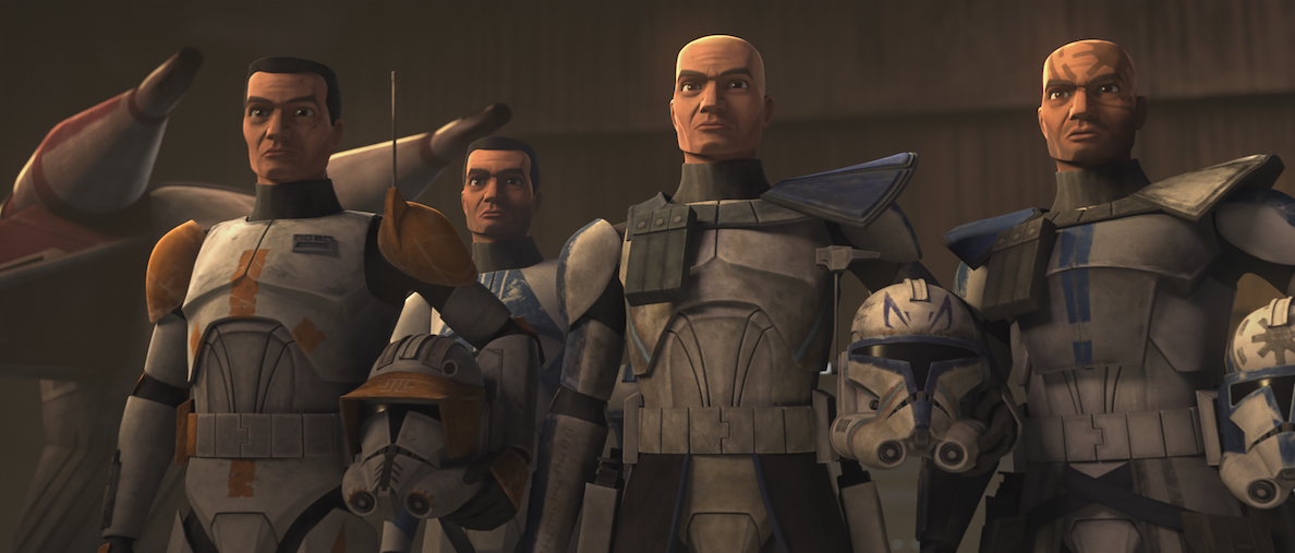 The different clones Dee Bradley voices in 'The Clone Wars' (Rex, Cody, etc.).