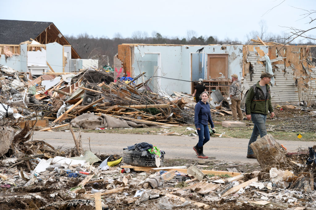 Tornado aftermath damage
