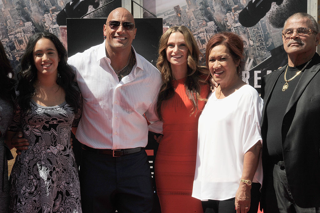 """Simone Alexandra Johnson, Dwayne """"The Rock"""" Johnson, Lauren Hashian, Ata Johnson and Rocky Johnson at the Hand And Footprint Ceremony held at TCL Chinese Theatre IMAX on May 19, 2015"""