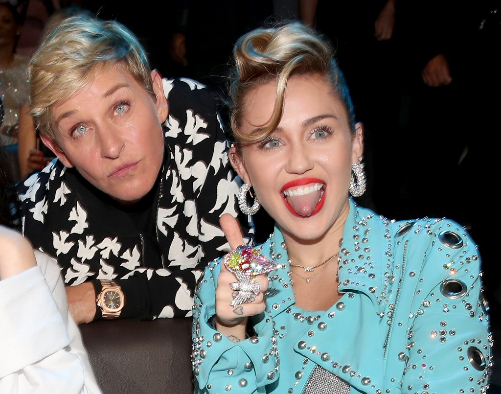 Ellen DeGeneres and Miley Cyrus attend the 2017 MTV Video Music Award