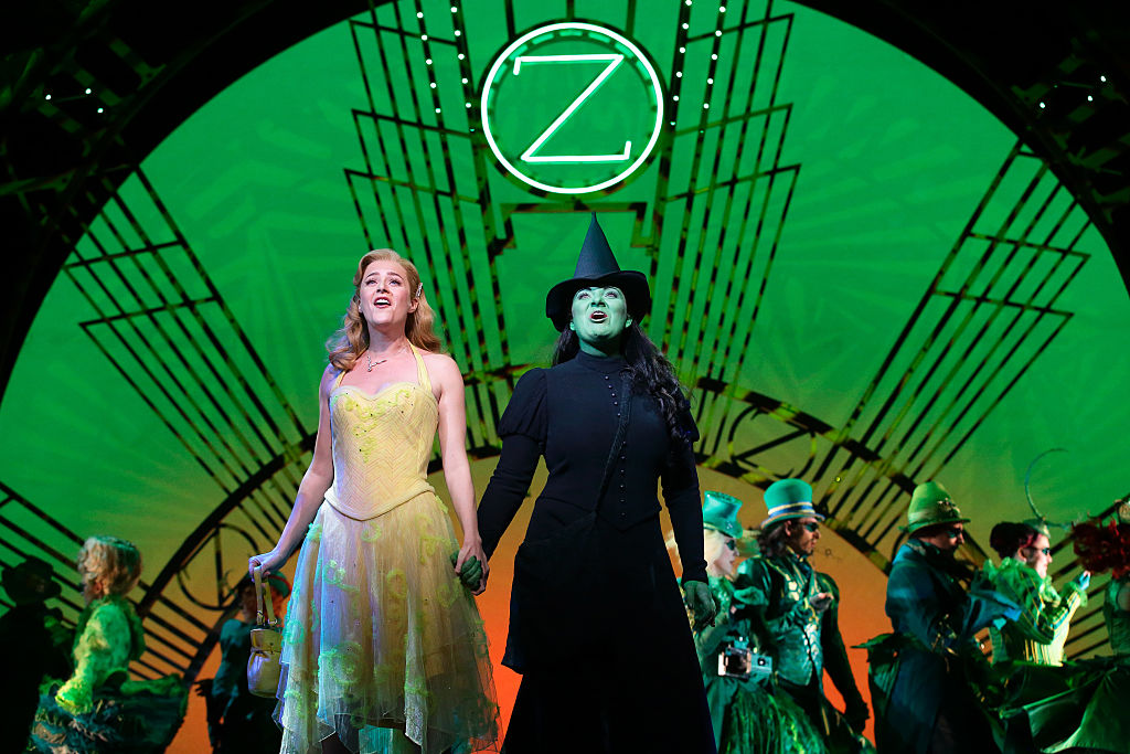 Carly Anderson as Galinda and Jacqueline Hughes as Elphaba in 'Wicked The Musical' at the Grand Theatre, Marina Bay Sands on September 30, 2016 in Singapore.