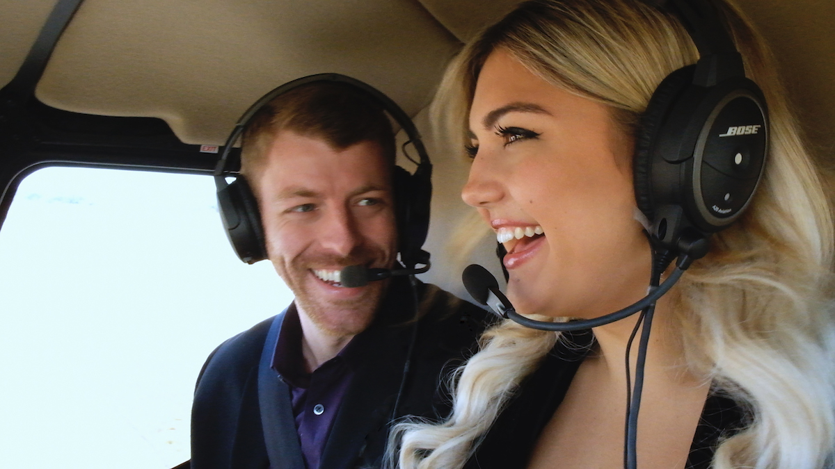 Damian and Giannina on their helicopter date in 'Love Is Blind.'