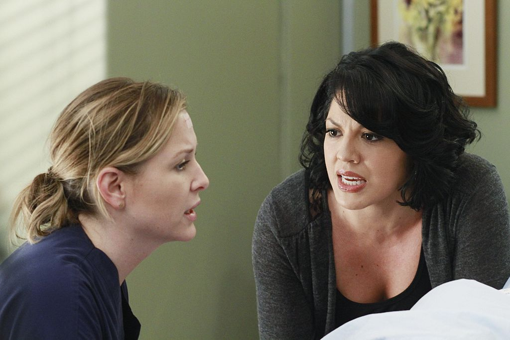 Jessica Capshaw as Arizona Robbins and Sara Ramirez as Callie Torres in 'Grey's Anatomy'