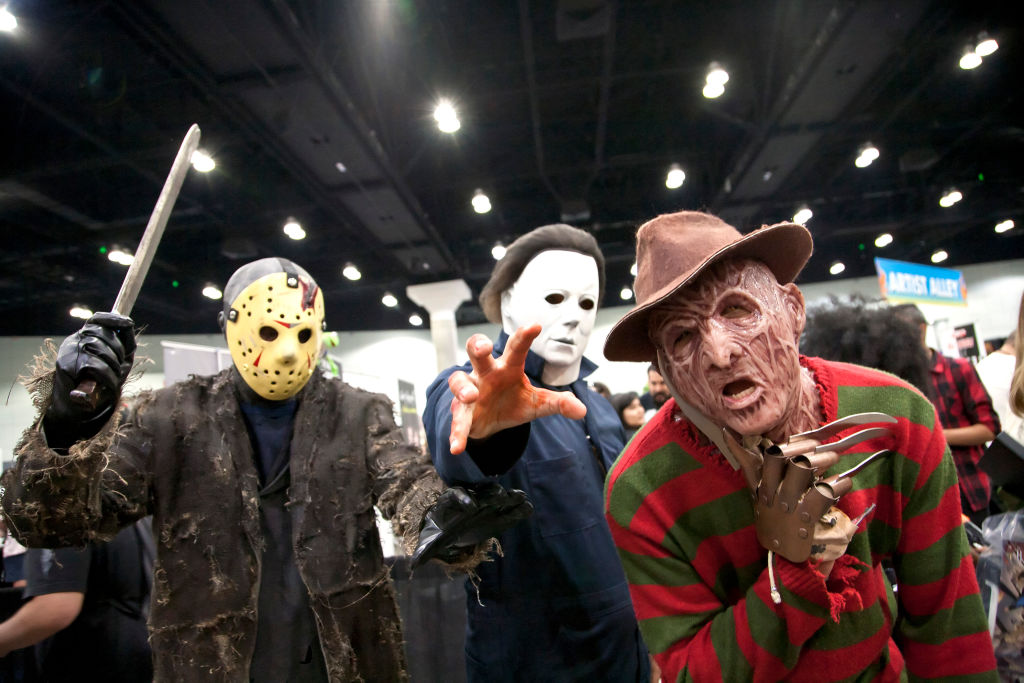 Jason Voorhees, Michael Myers, and Freddy Krueger cosplayers at the 2019 Los Angeles Comic Con.