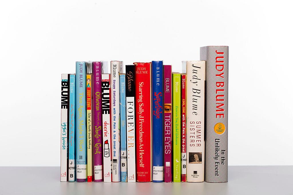 row of books written by Judy Blume