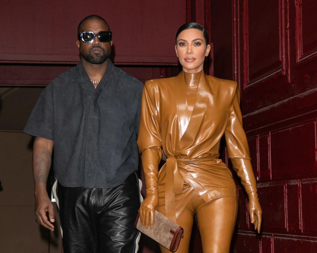 Kardashian West and husband Kanye West leave K.West's Sunday Service At Theatre Des Bouffes Du Nord - Paris Fashion Week