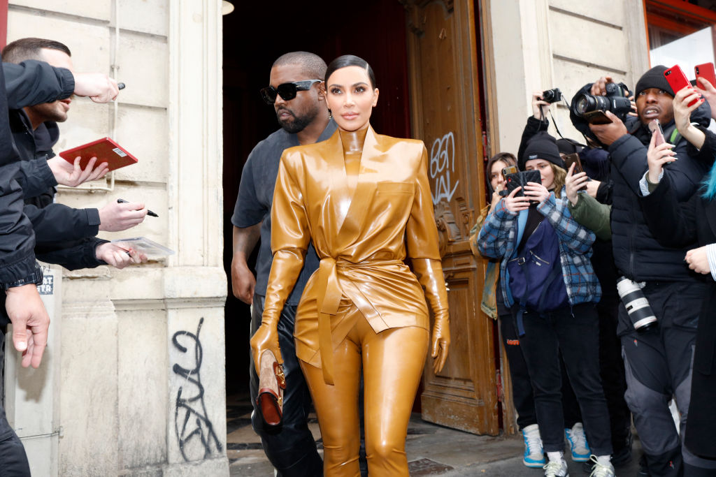 Kim Kardashian West and Kanye West at the Theatre des Bouffes du Nord to attend Kanye West's Sunday Service on March 01, 2020.