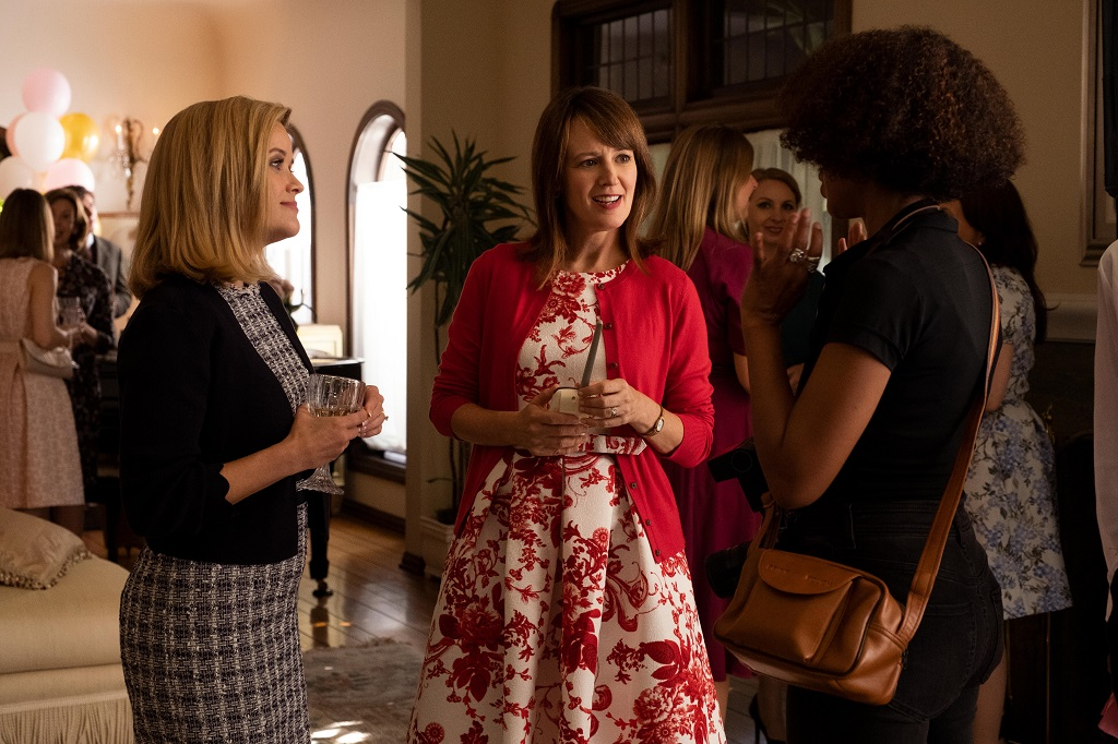 Reese Witherspoon as Elena Richardson, Rosemarie DeWitt as Linda McCullough, and Kerry Washington as Mia Warren in 'Little Fires Everywhere