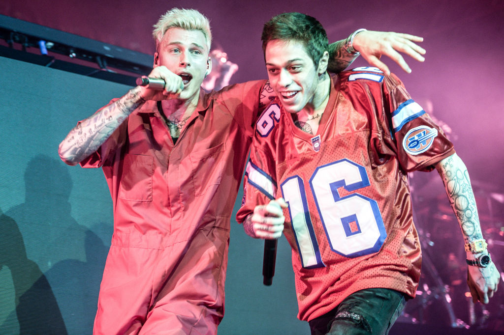 Machine Gun Kelly and Pete Davidson perform at PlayStation Theater on June 8, 2019 in New York City.