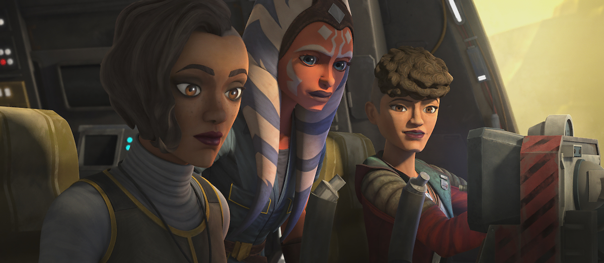 "Ahsoka on a ship with Rafa and Trace Martez in Episode 6, ""Deal No Deal"" on 'The Clone Wars.'"