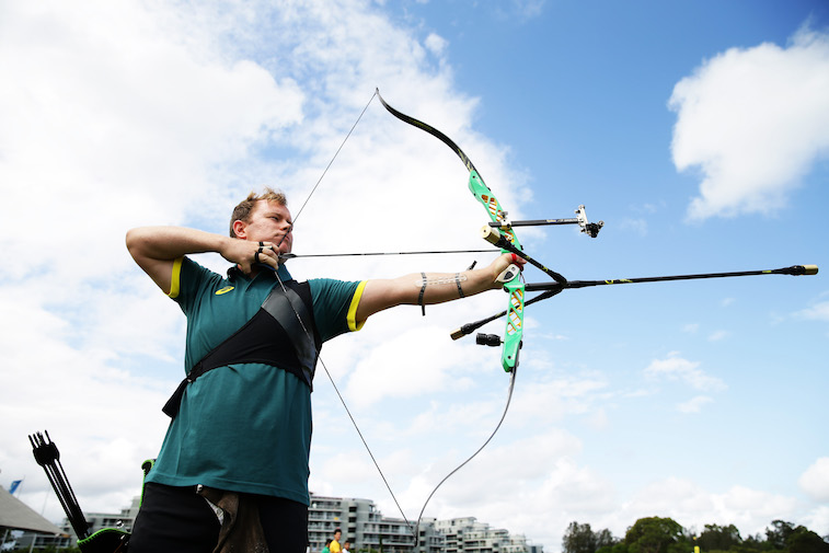 David Barnes poses during the Australian 2020 Tokyo Olympic Games Archery Team Announcement