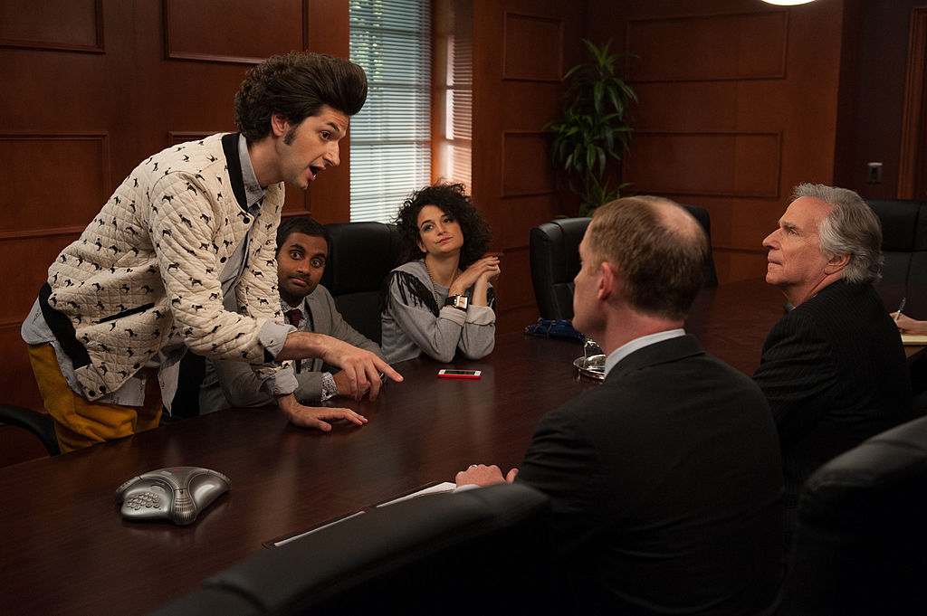 'Parks and Recreation': (l-r) Ben Schwartz as Jean-Ralphio, Aziz Ansari as Tom Haverford, Jenny Slate as Mona Lisa, Marc Evan Jackson as Trevor Nelson, Henry Winkler as Dr. Saperstein