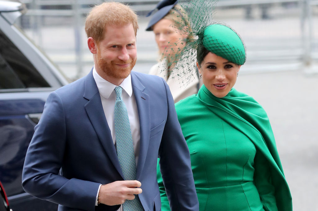 Prince Harry and Meghan, Duchess of Sussex meet children as she attends the Commonwealth Day Service 2020