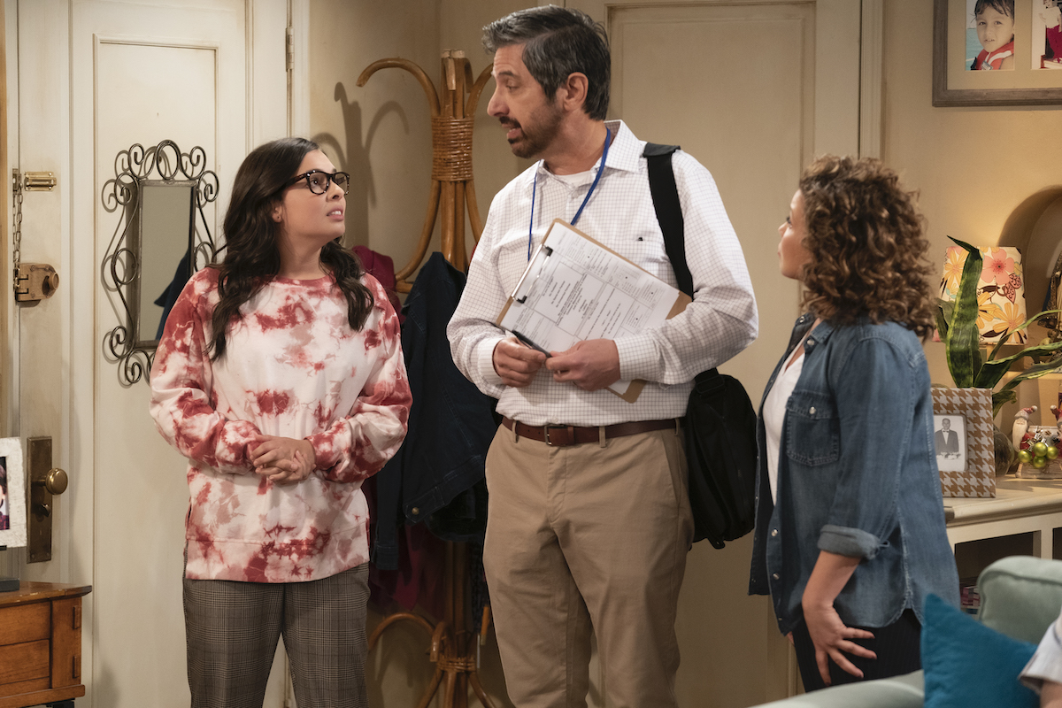 Isabella Gomez as Elena, Ray Romano as Brian and Justina Machado as Penelope in ONE DAY AT A TIME.