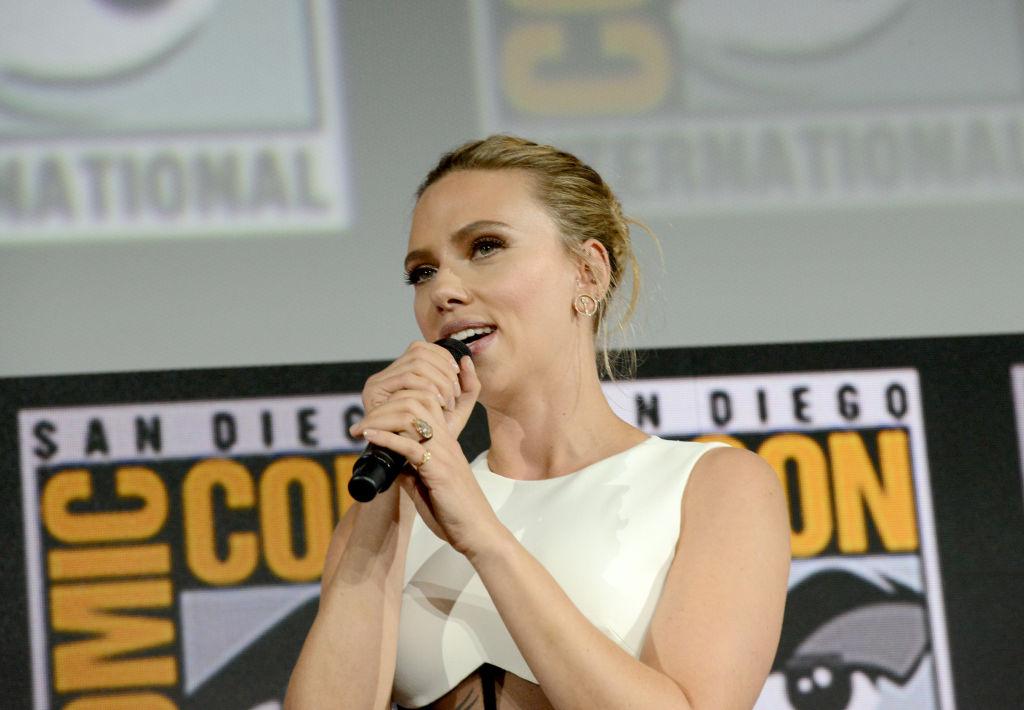 Scarlett Johansson speaks at the Marvel Studios Panel during 2019 Comic-Con International