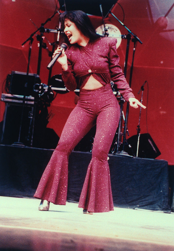 Selena, known as La Reina de Tejano, performing in concert one month before her murder in 1995.