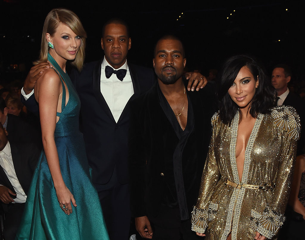 Taylor Swift, Jay Z, Kanye West, and Kim Kardashian attend The 57th Annual GRAMMY Awards