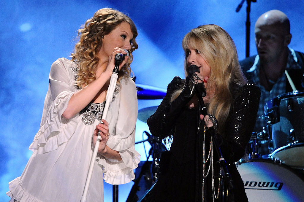Taylor Swift and Stevie Nicks onstage at the 52nd Annual GRAMMY Awards on January 31, 2010