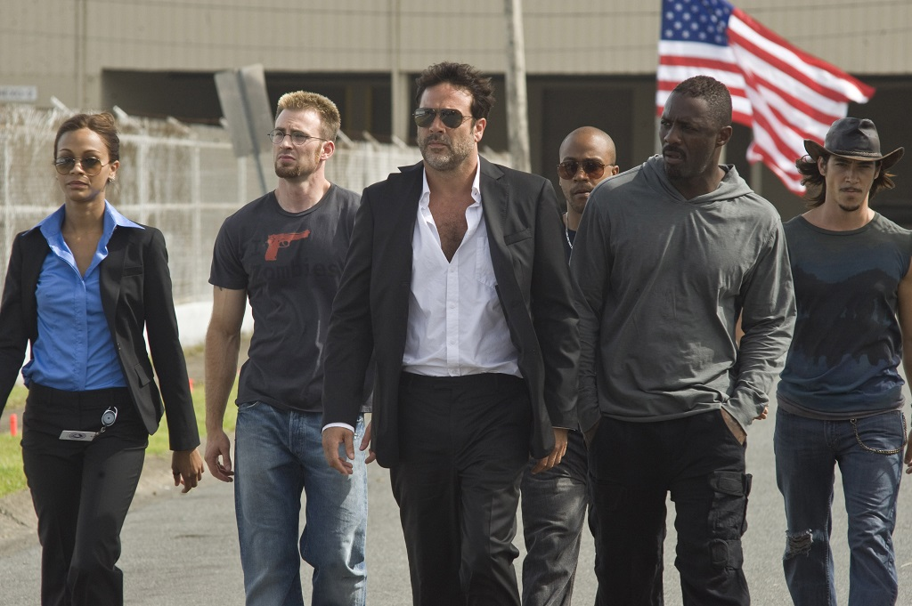 (L-R) Zoe Saldana, Chris Evans, Jeffrey Dean Morgan, Columbus Short, Idris Elba, and Óscar Jaenada in 'The Losers'