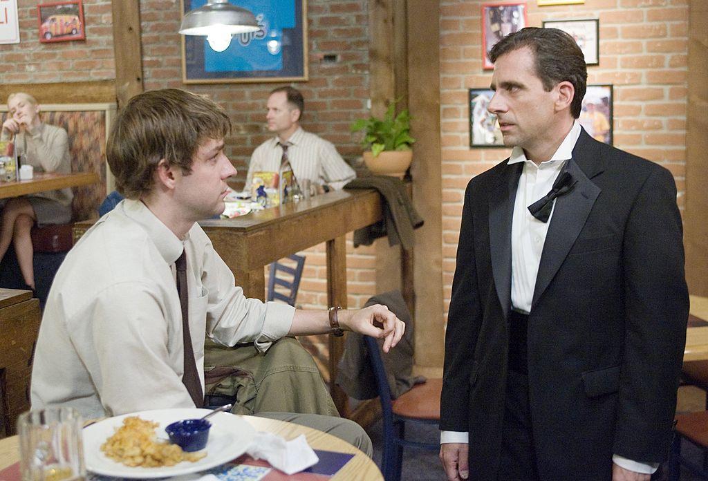 The Office John Krasinski as Jim Halpert and Steve Carell as Michael Scott