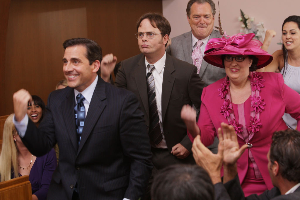 Steve Carell as Michael Scott, Rainn Wilson as Dwight Schrute, Phyllis Smith as Phyllis Lapin in 'The Office'