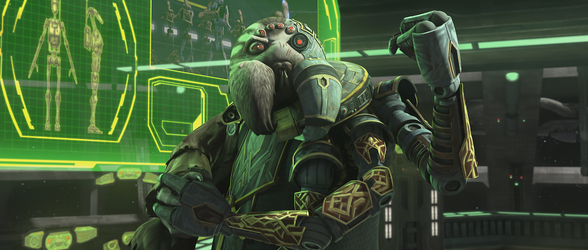 Trench, a Separatist leader, in his control room, 'The Clone Wars.'