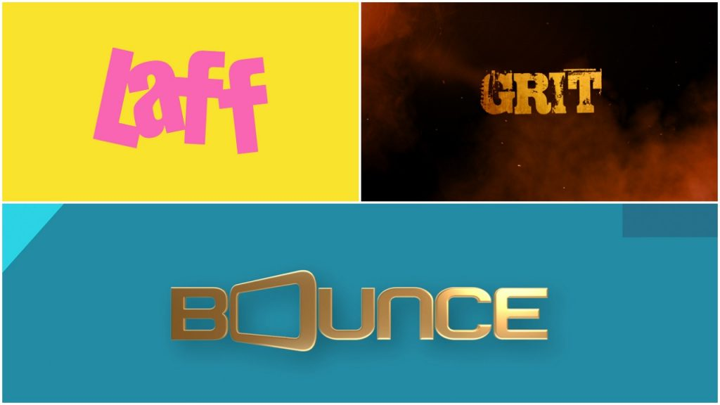 Laff, Grit and Bounce logos