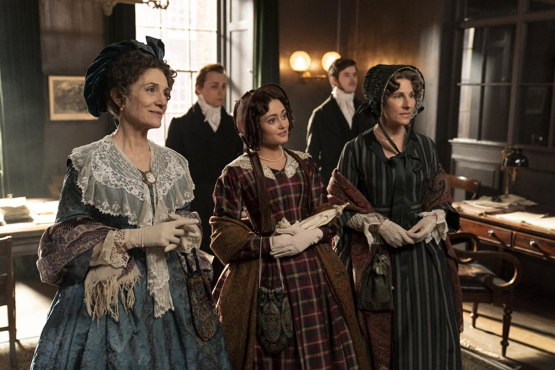 Trio of women in Victorian-style dress in 'Belgravia'