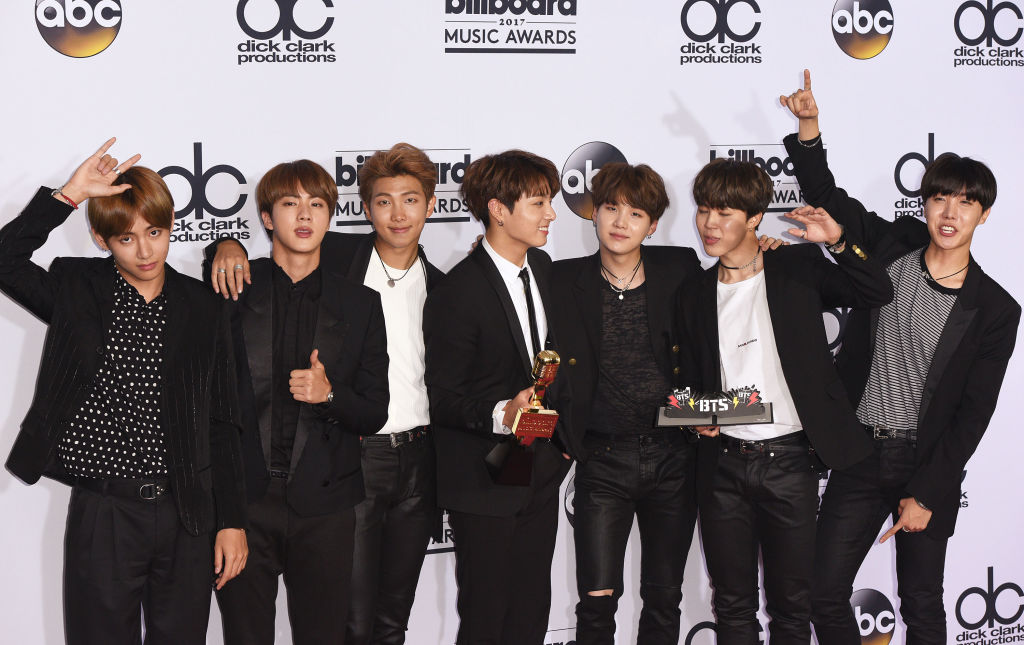 K-Pop sensation, group BTS poses backstage in the press room the 2017 Billboard Music Awards
