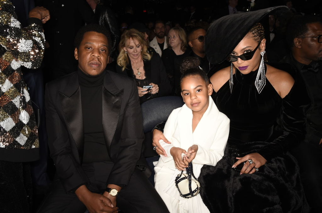 Jay-Z, Blue Ivy, and Beyoncé at THE 60TH ANNUAL GRAMMY AWARDS