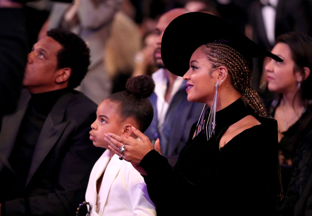 Blue Ivy and Beyoncé Knowles-Carter attend the 60th Annual GRAMMY Awards