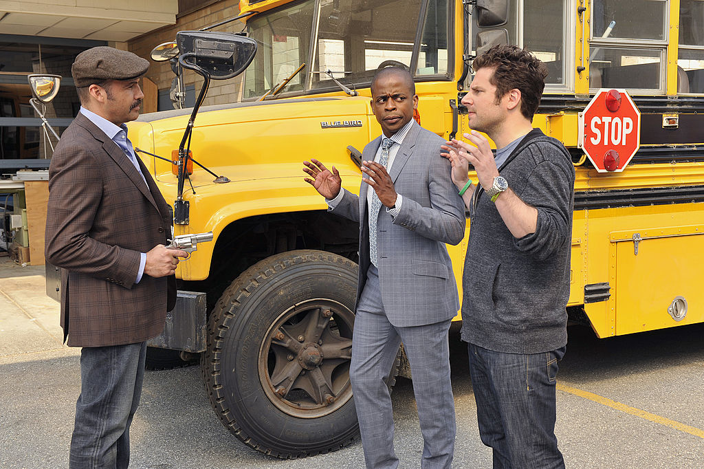 Billy Zane, Dulé Hill, and James Roday in a scene from 'Psych'