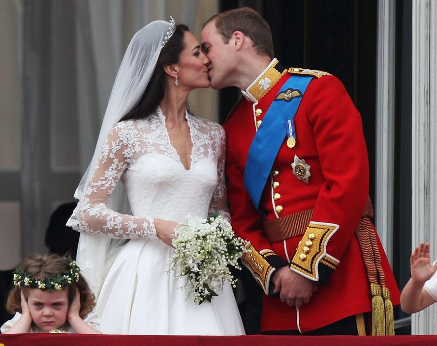 Bridesmaid Grace Van Cutsem, Kate Middleton, and Prince William