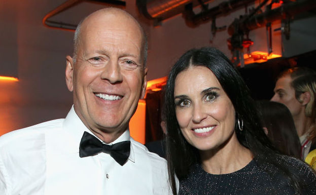Bruce Willis and Demi Moore at a party in July 2018