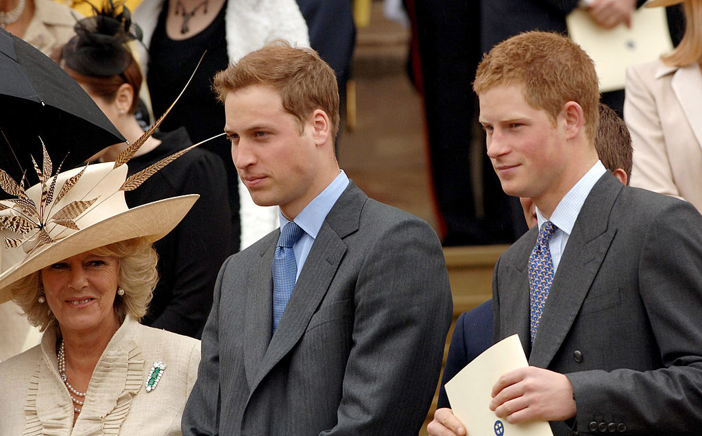 Camilla Parker Bowles, Duchess of Cornwall, Prince William and Prince Harry stand on the steps of St. George's Chapel, Windsor, following the Service of Thanksgiving for the Queen's 80th birthday on April 23, 2006