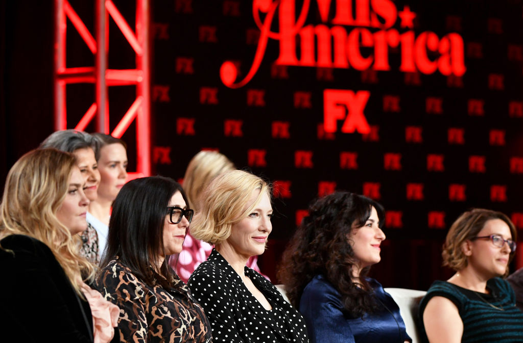 Coco Francini, Tracey Ullman, Sarah Paulson, Stacey Sher, Cate Blanchett, Dahvi Waller, and Anna Boden of Mrs. America