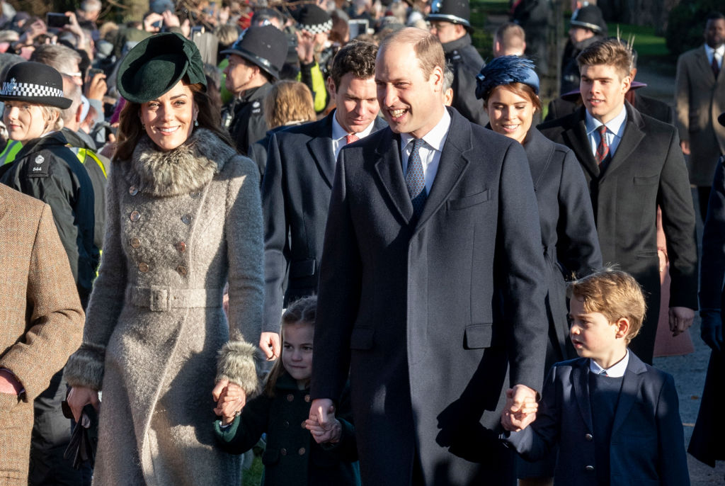 Catherine, Duchess of Cambridge, Prince William, Prince George, and Princess Charlotte attend church on Christmas Day