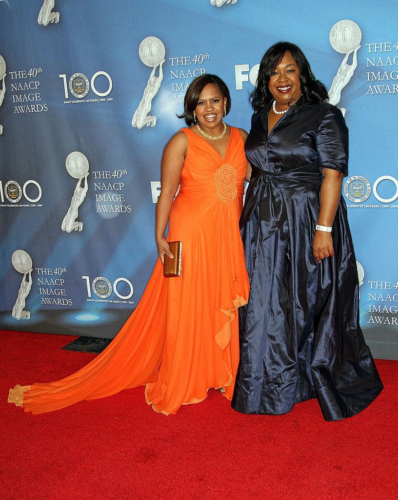 Actress Chandra Wilson and show creator Shonda Rhimes (R) arrives at the 40th NAACP Image Awards