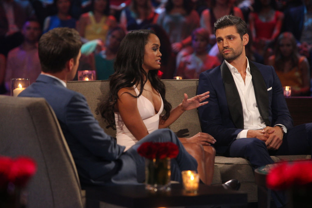 Chris Harrison, Rachel Lindsay Abasolo, and Peter Kraus of The Bachelor franchise
