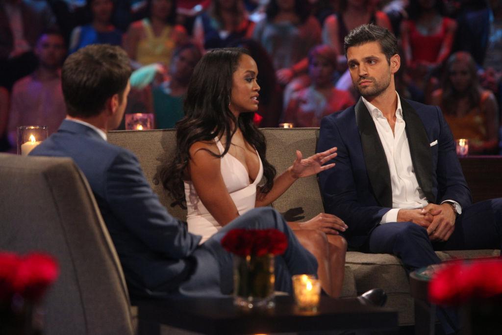 Chris Harrison, Rachel Lindsay Abasolo, and Peter Kraus of The Bachelor franchise