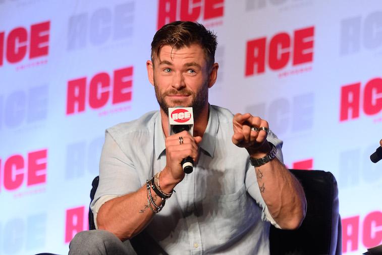 Chris Hemsworth speaks onstage