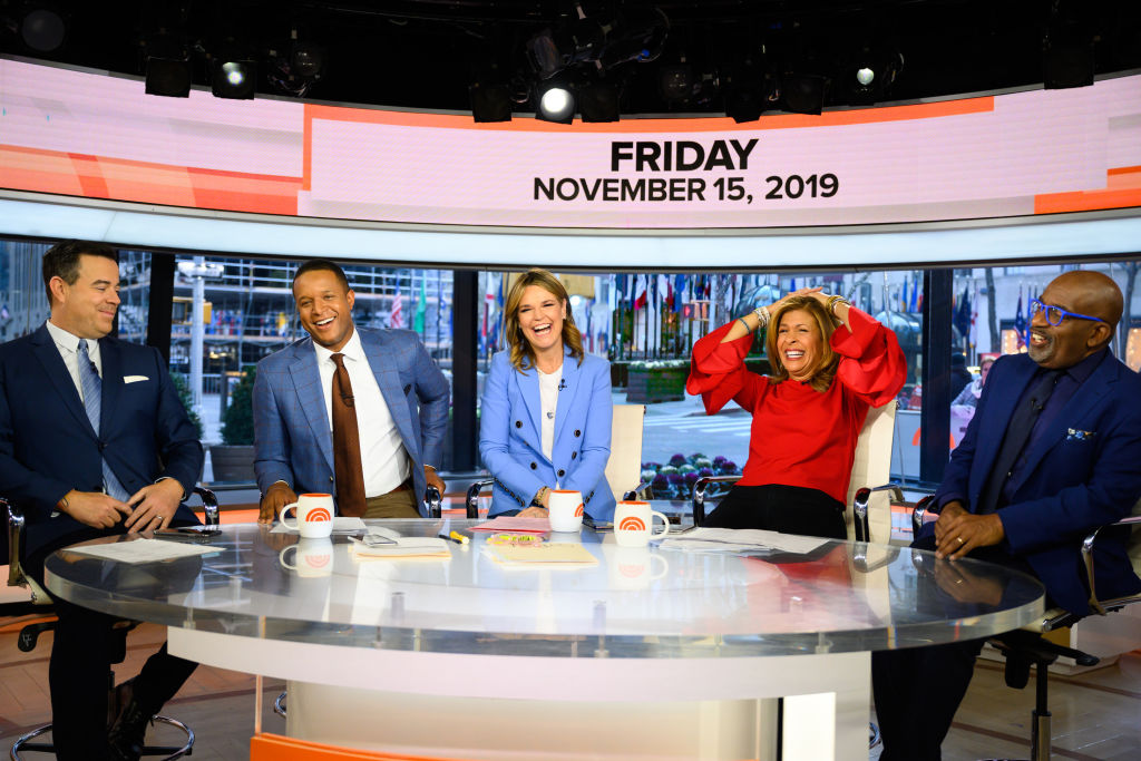 Carson Daly, Craig Melvin, Savannah Guthrie, Hoda Kotb and Al Roker of the 'Today Show'