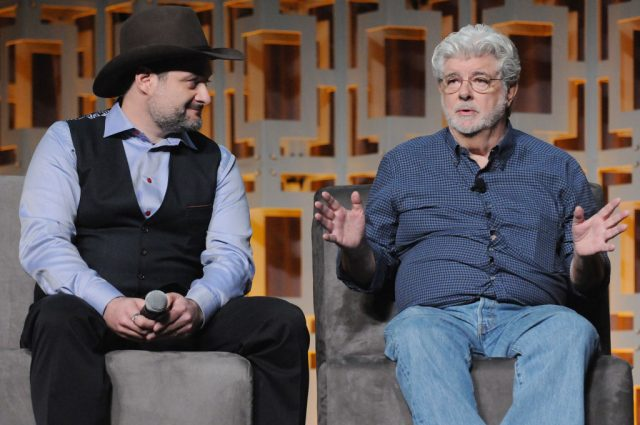 Dave Filoni and George Lucas at Star Wars Celebration