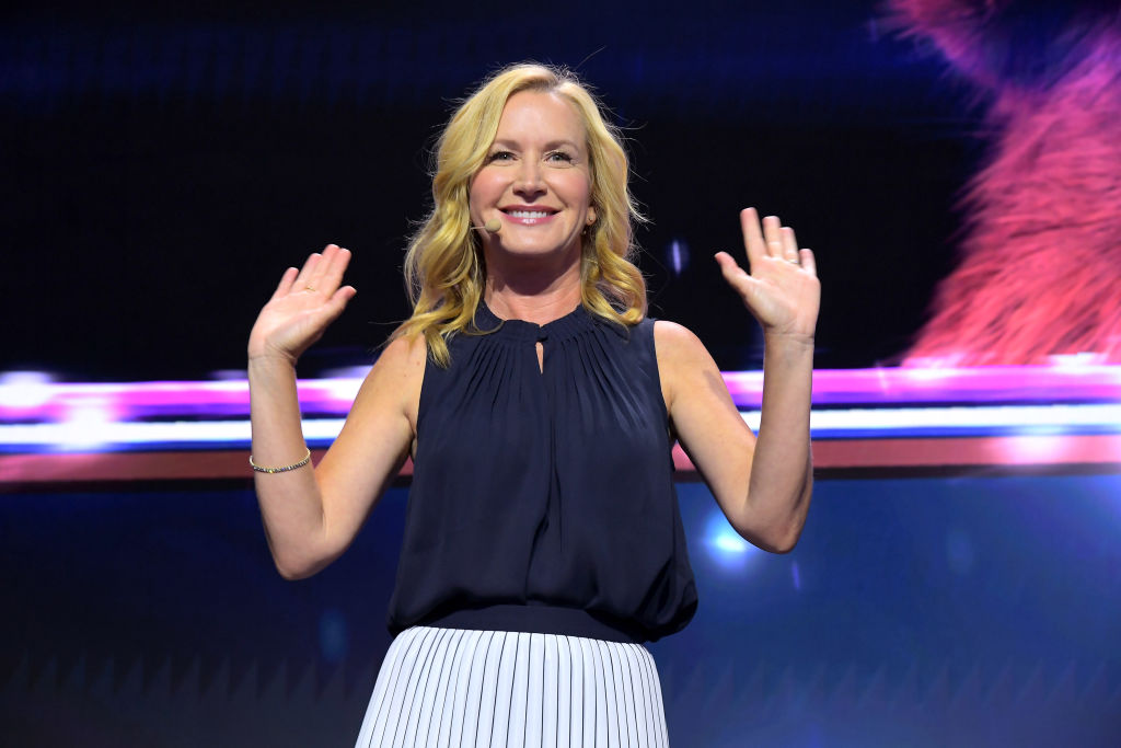 "Angela Kinsey of ""Be Our Chef"" speaks at the Disney+ Pavilion at Disney's D23 EXPO 2019"