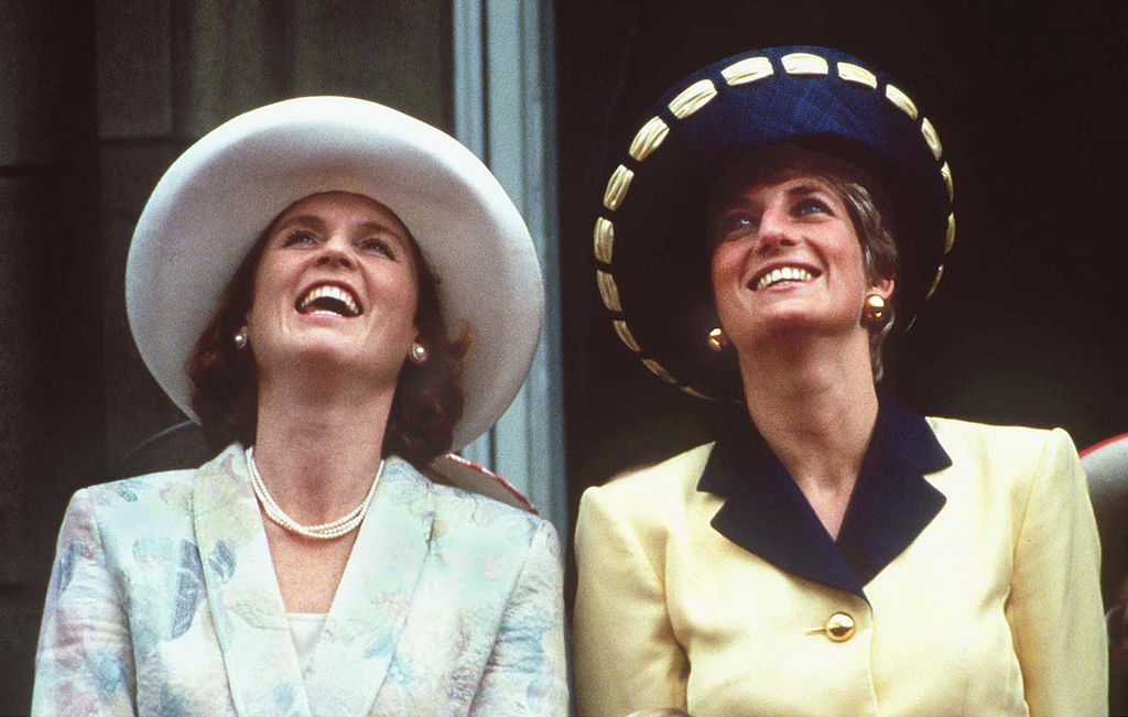 The Princess of Wales and the Duchess of York on the balcony of Buckingham Palace during the Trooping the Colour ceremony, June 1991. The Princess is wearing a Catherine Walker suit and Philip Somerville hat.