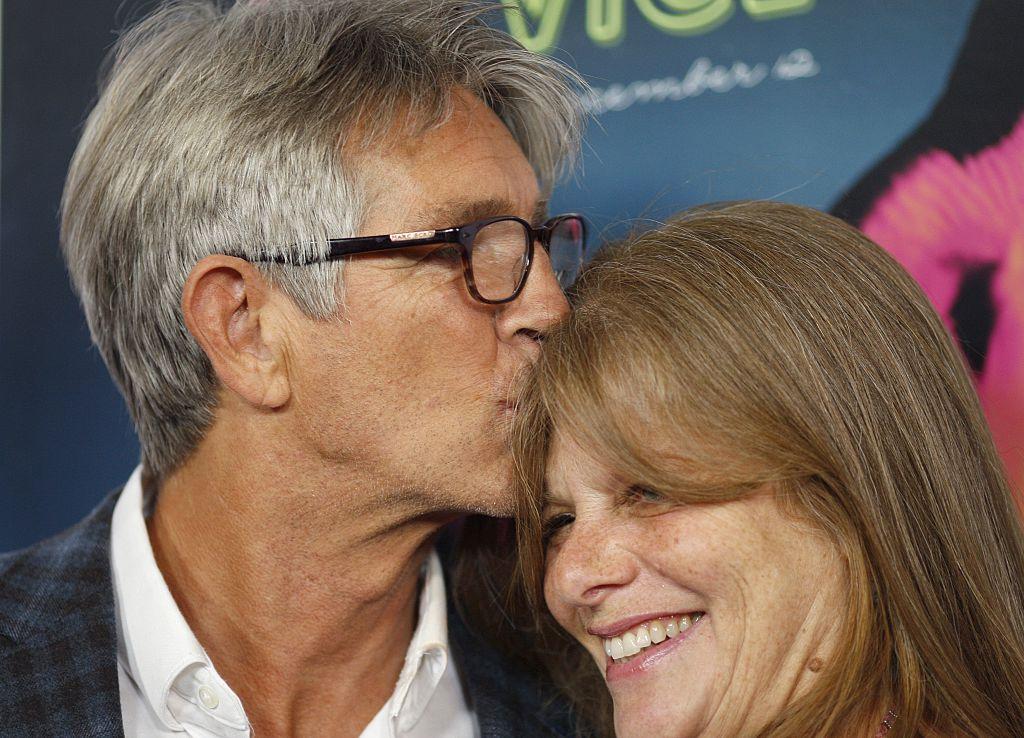Actor Eric Roberts kisses wife actress Eliza Roberts