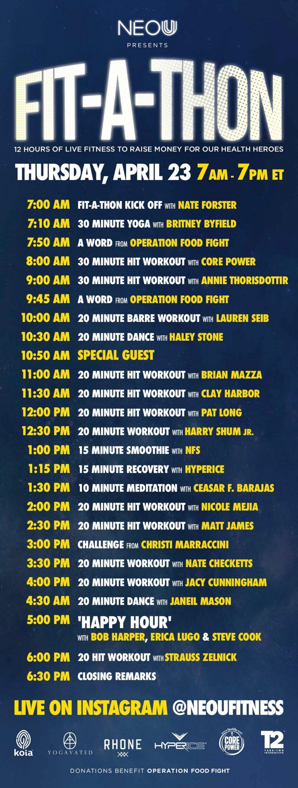 NEOU Fit-A-Thon schedule