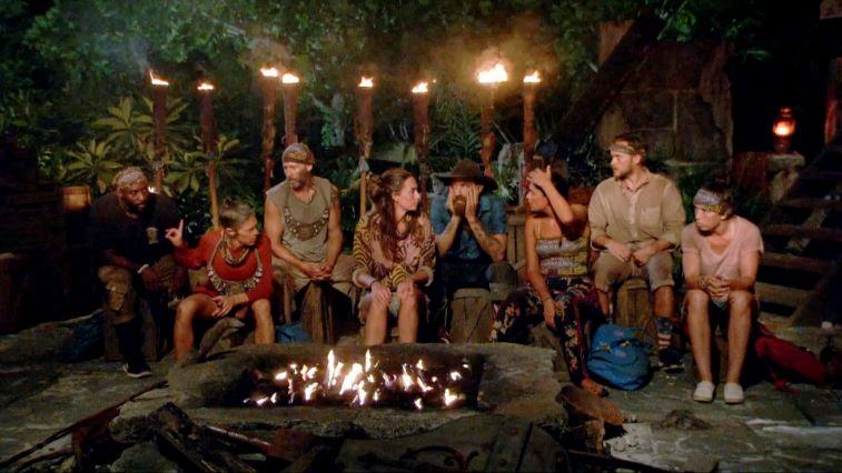 Kim Spradlin, Jeremy Collins, Denise Stapley, Tony Vlachos, Ben Driebergen, Michele Fitzgerald, Nick Wilson and Sarah Lacina at Tribal Council