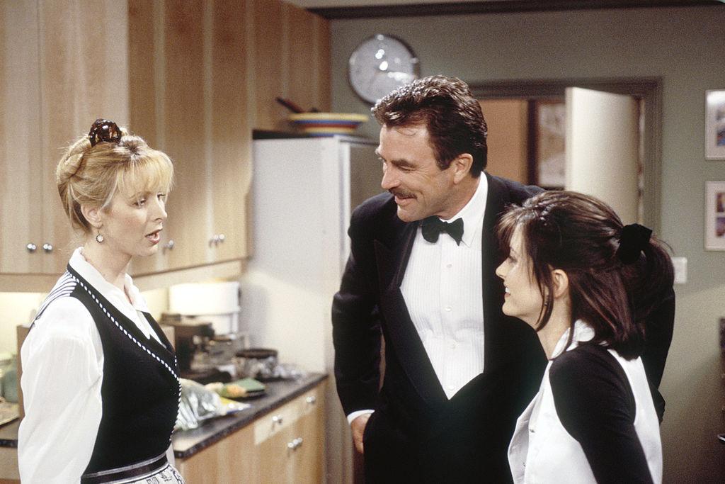 Lisa Kudrow as Phoebe Buffay, Tom Selleck as Dr. Richard Burke, Courteney Cox Arquette as Monica Geller