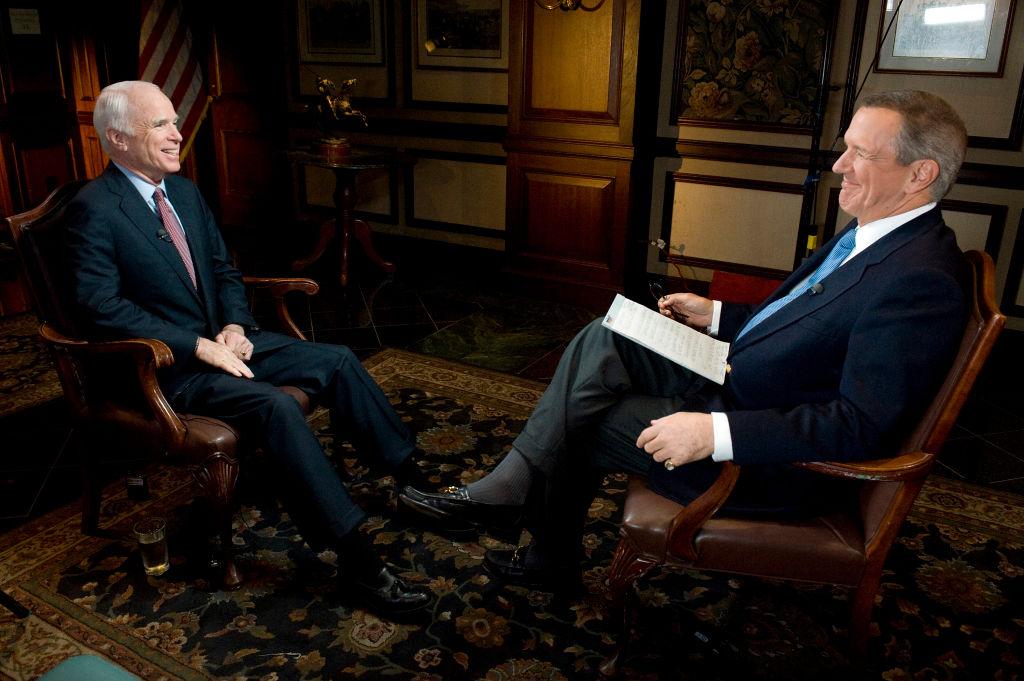 Charles Gibson (right) and John McCain on ABC's 'World News Tonight', 2008